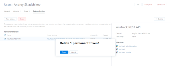 Delete permanent token