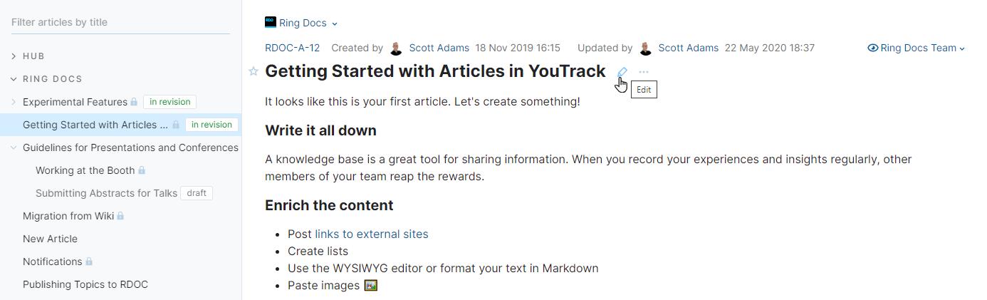 Edit a published article.