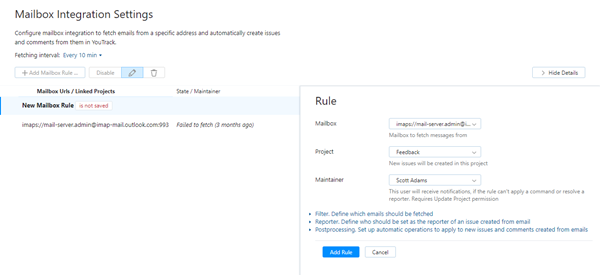 feedback mailbox rule