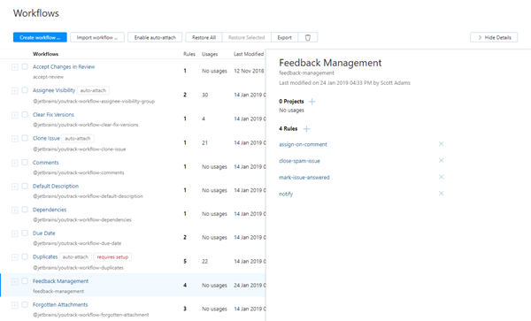 feedback management custom workflow