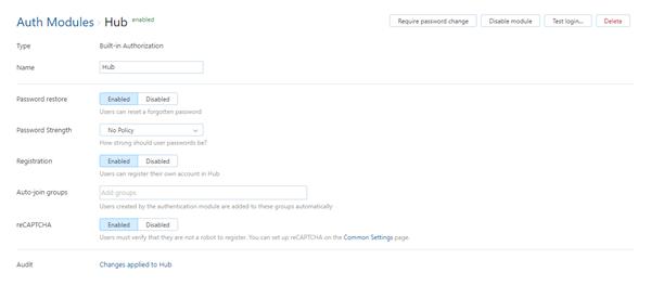Hub auth module settings