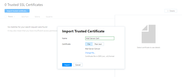 Import trusted certificate dialog