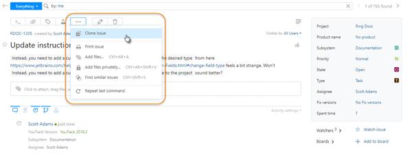 Issue toolbar show more menu