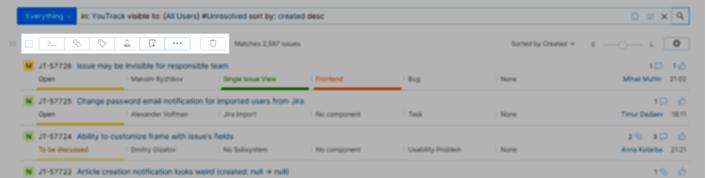Issues list toolbar