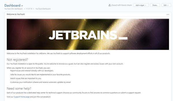 JetBrains guest dashboard