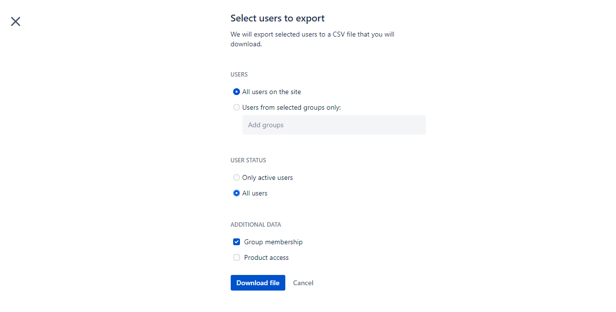 Select users to export page in Atlassian Administration.