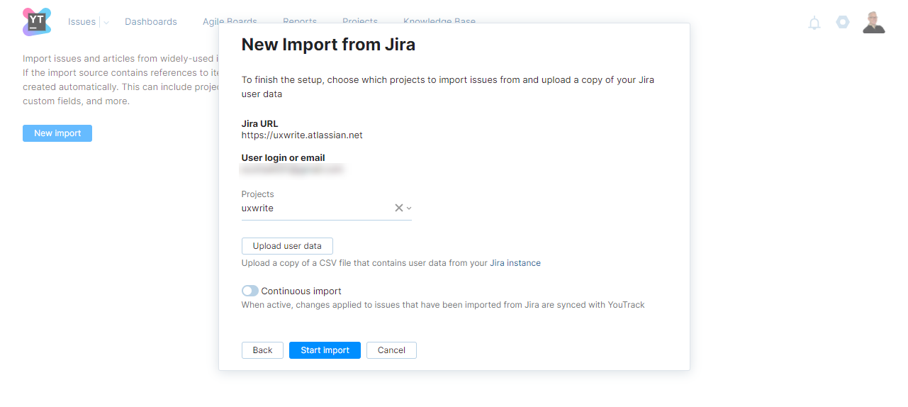 New Import from Jira step two.