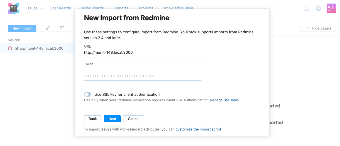 New Import from Redmine dialog.