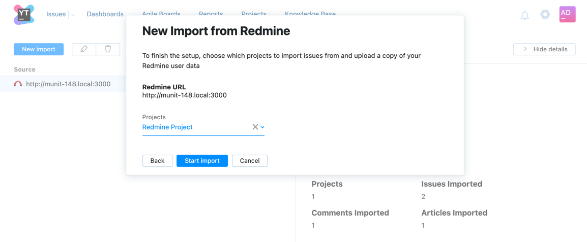 New Import from Redmine dialog step two.
