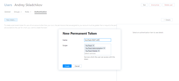 New permanent token dialog.