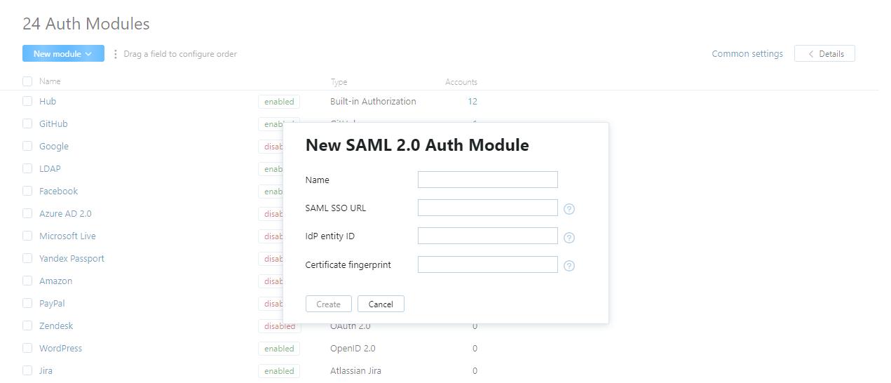 new SAML auth module