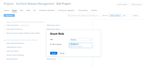 Project access grant role