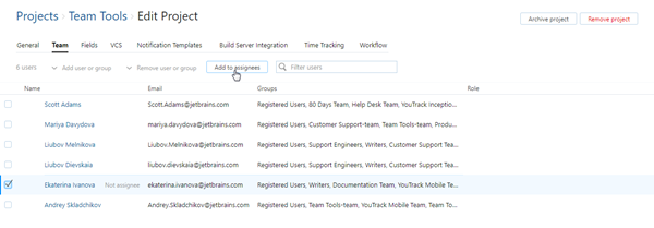 Project team add assignee