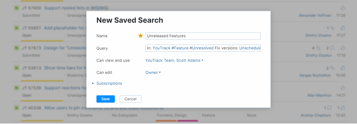 The saved search dialog.