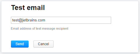 Send test message to email address
