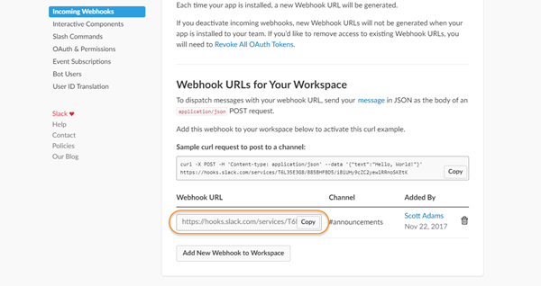 Slack integration webhook url