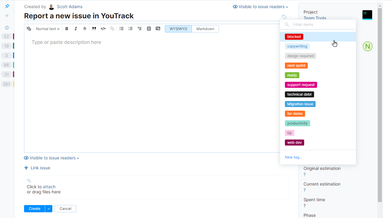 Adding tags to a new issue in YouTrack Lite.
