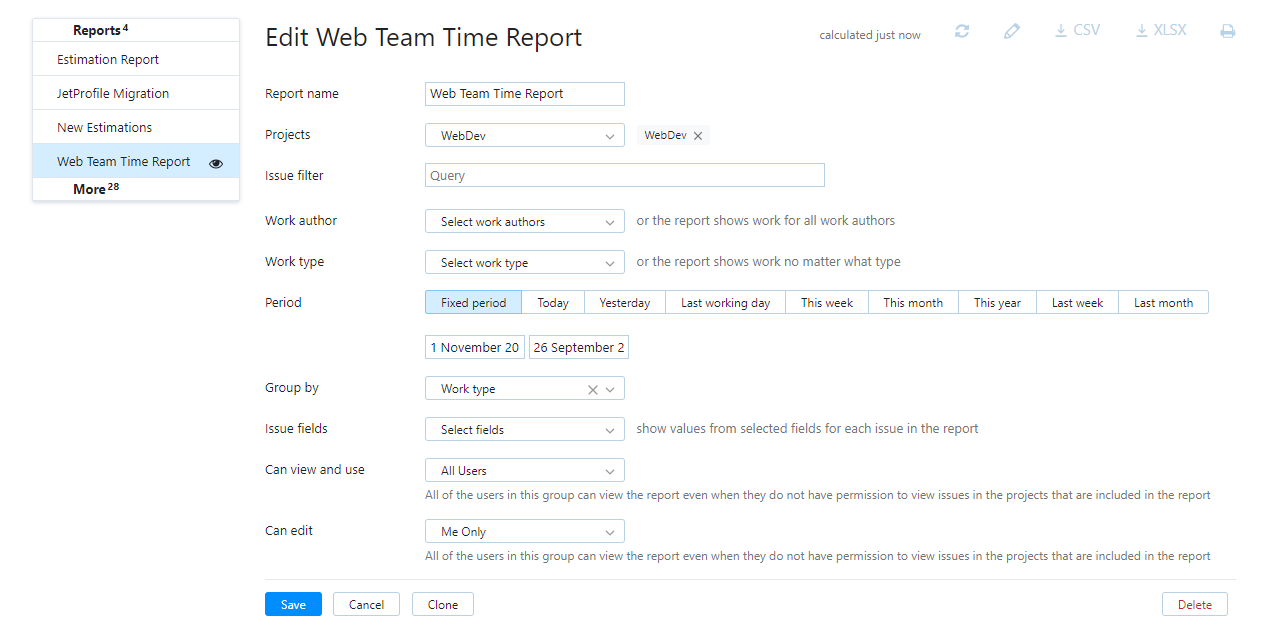 time report settings
