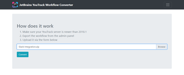 Workflow converter upload