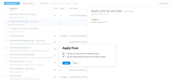 workflow apply fixes