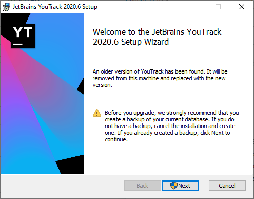 YouTrack setup wizard upgrade.