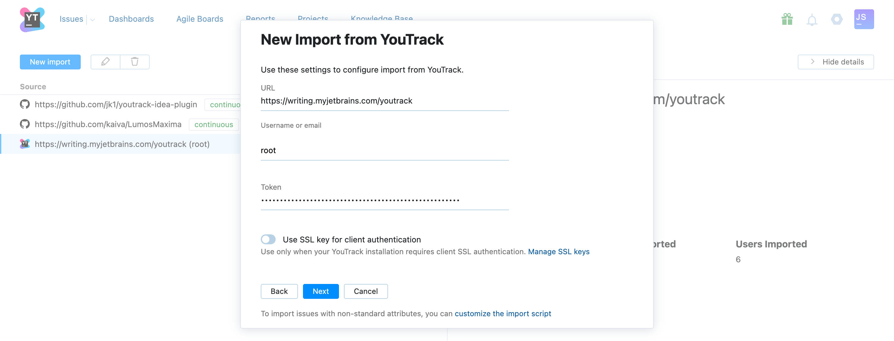 YouTrack import settings