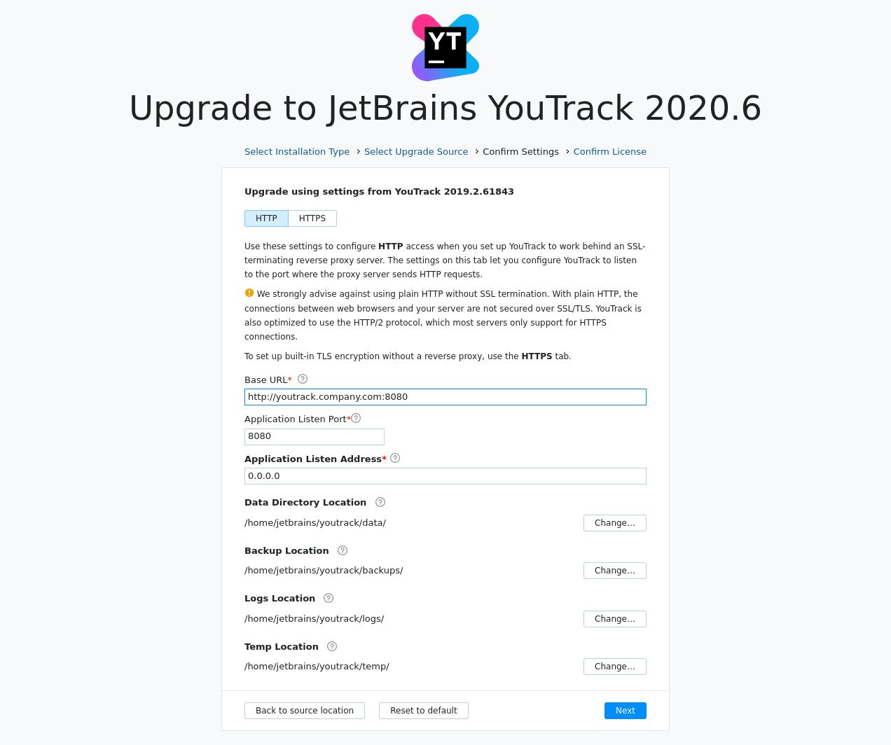 YouTrack JAR upgrade settings
