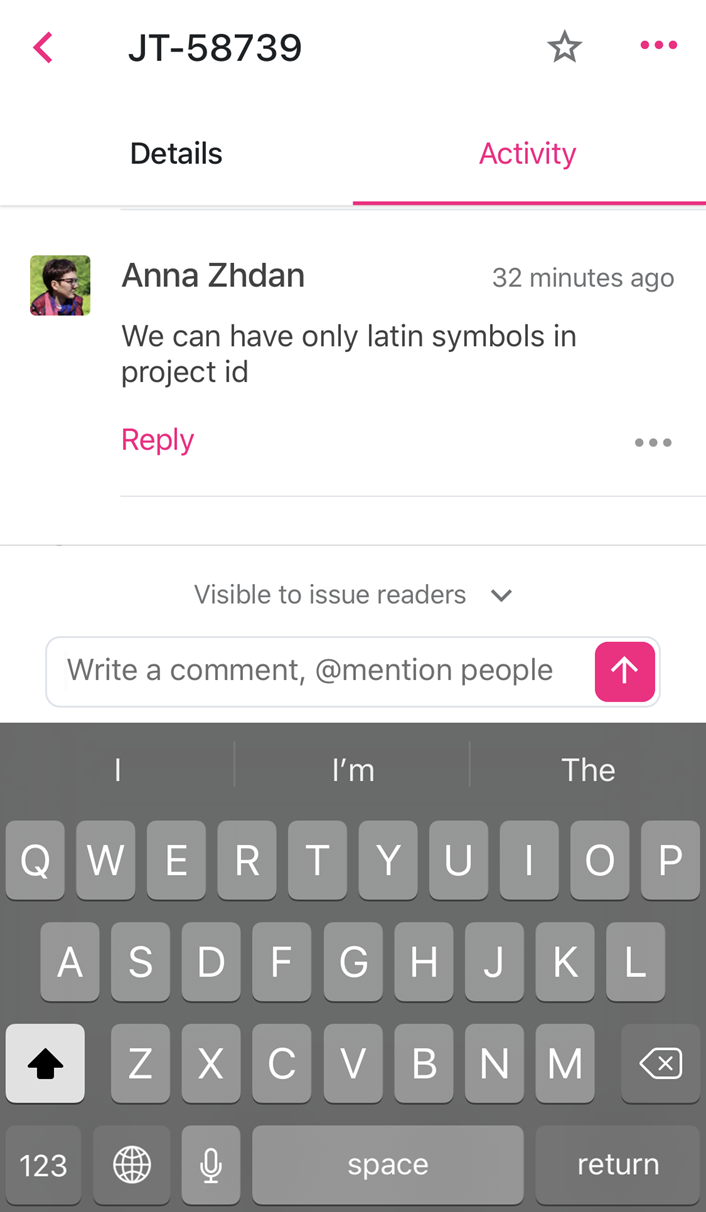 Controls for adding a comment to an issue in the mobile app.