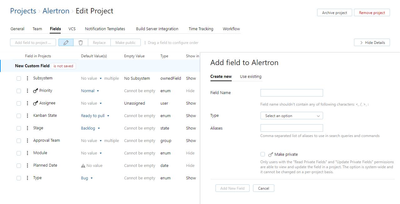 Add custom field to project