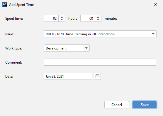 Add Spent Time dialog for the YouTrack Integration plugin.