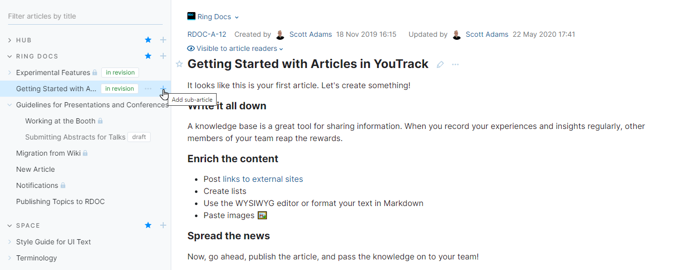 Add a sub-article to an existing article.