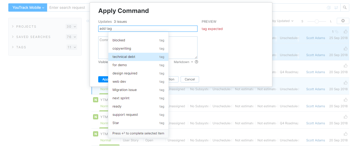 Add a tag to multiple issues with a command.