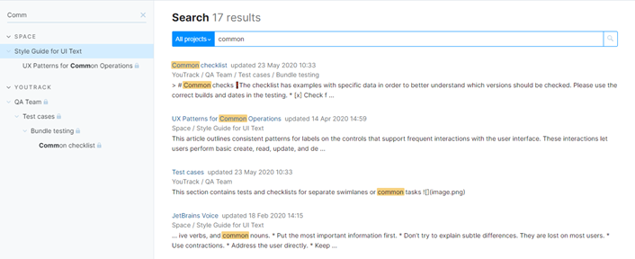 Search results for text search.