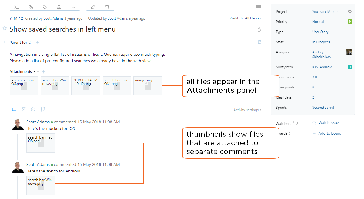 Attach files to comments