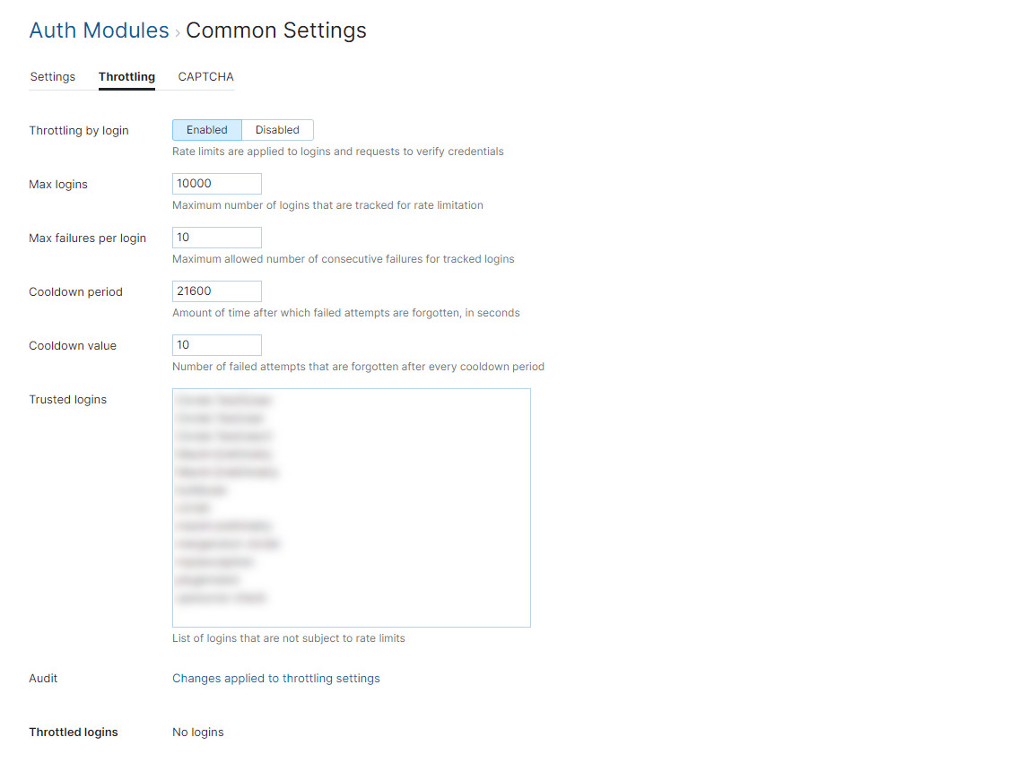 Auth module common settings throttling