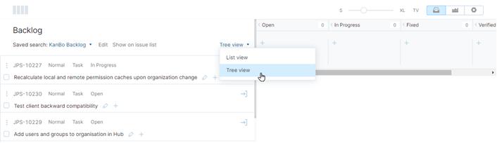 Backlog view modes
