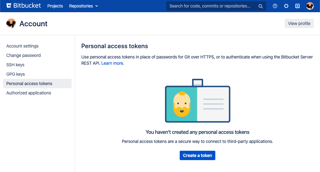 Personal access tokens page