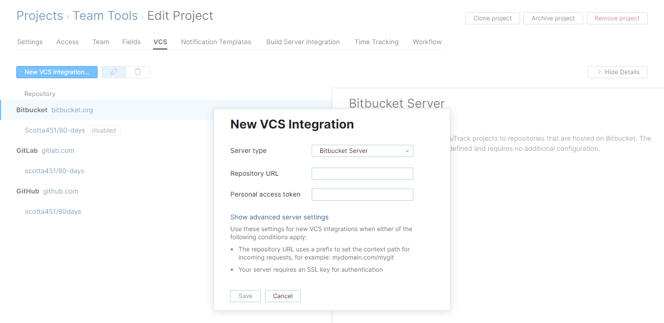 new Bitbucket Server VCS integration