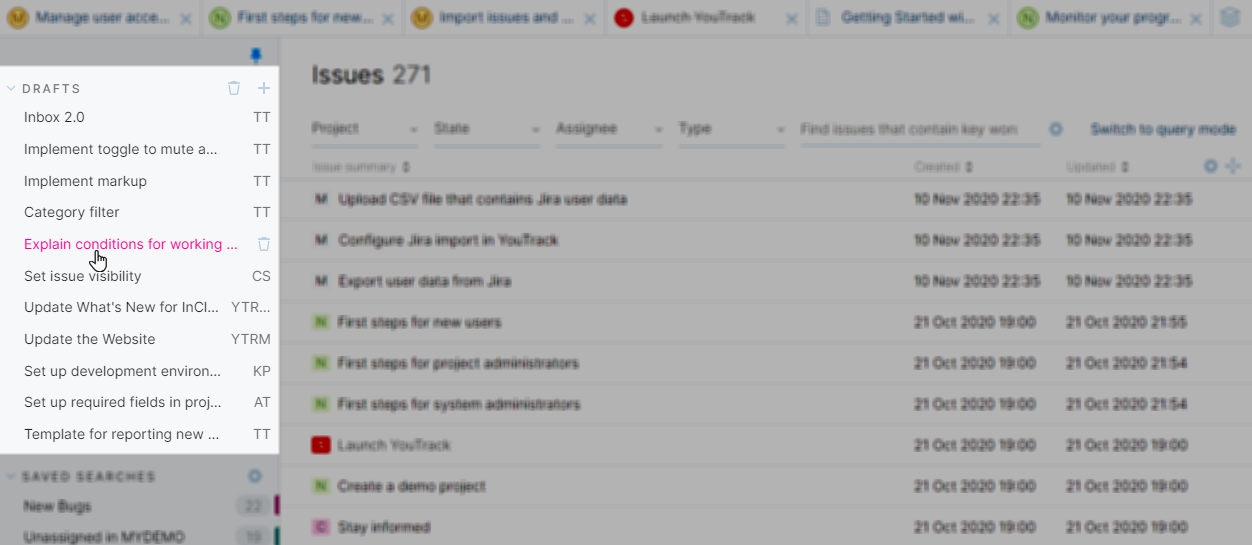 List of issue drafts in YouTrack Lite.