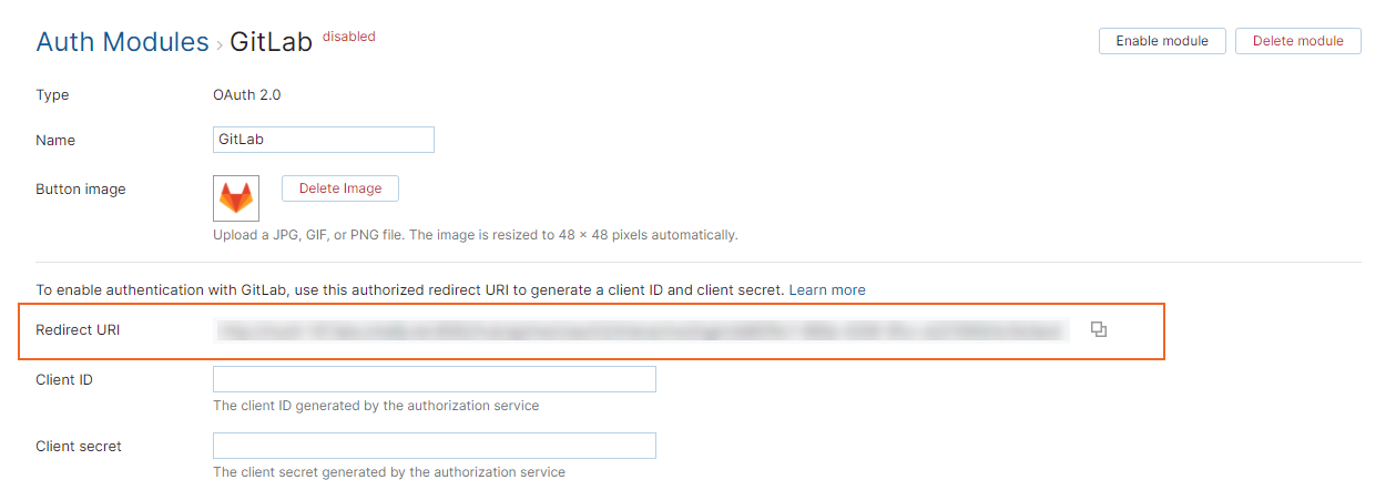 Gitlab settings redirect uri