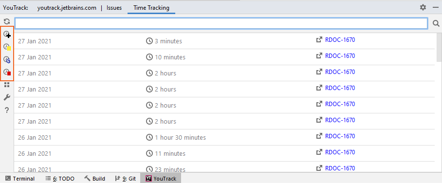 Options for tracking spent time manually in the plugin tool window.