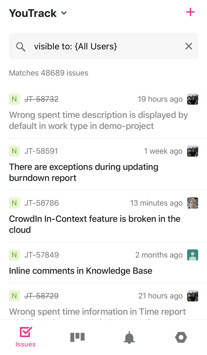 The Issues list in YouTrack Mobile.
