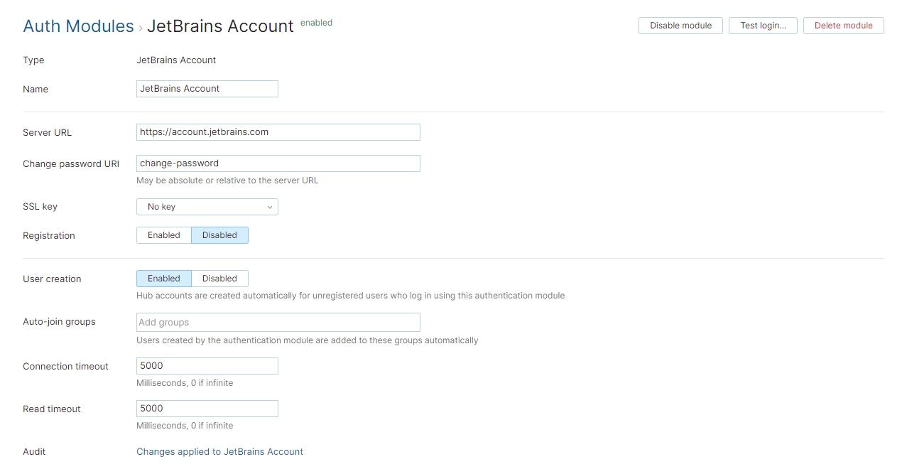 Jetbrains account auth module
