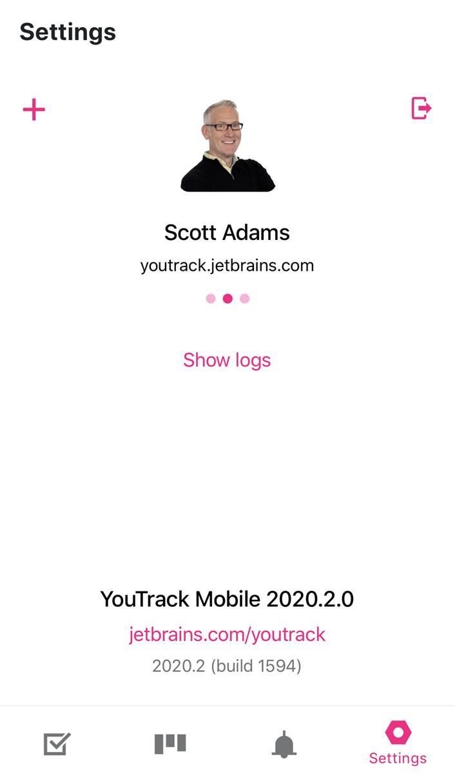 Settings screen in the mobile app.