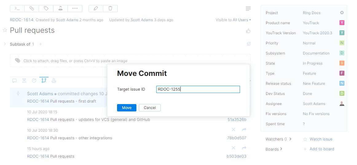 Dialog for moving commit to another issue.