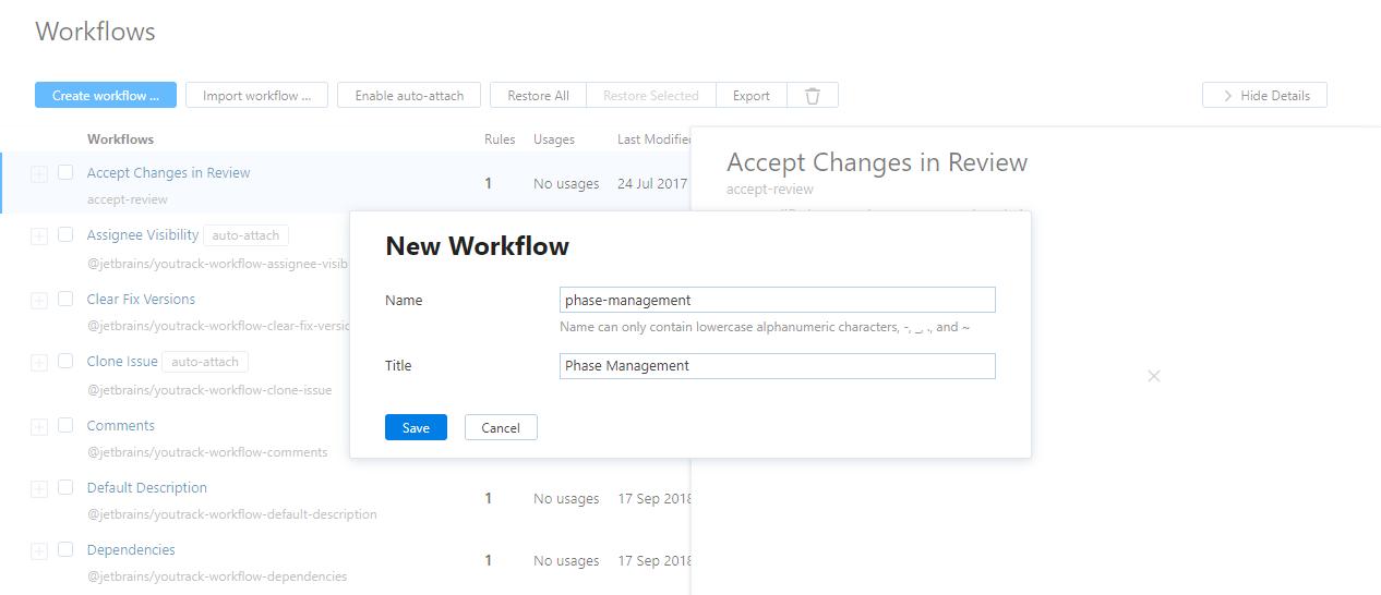New workflow dialog js