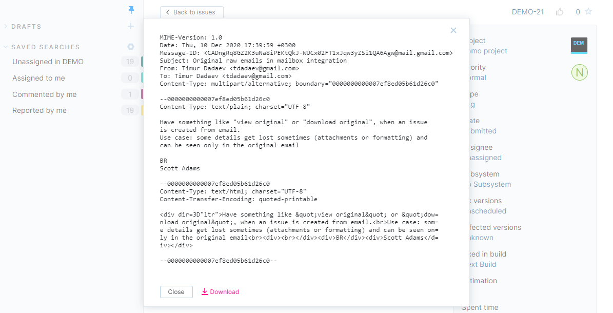 Original email for an issue in YouTrack Lite.