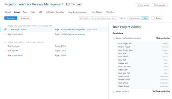 Project access by role
