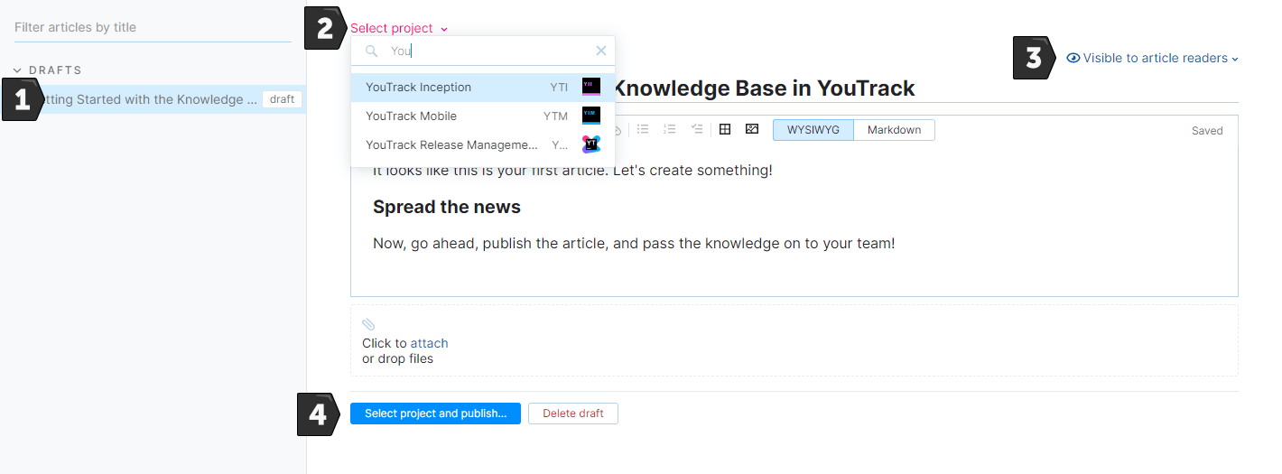 Steps for publishing an article in the knowledge base.
