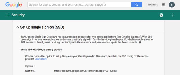 Saml ga security sso